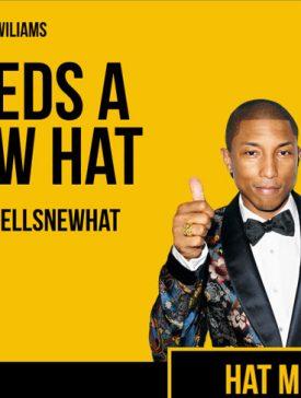 iim pharells new hat 275x364 - Buzzies Award 2014 - Pharell Williams a besoin de vous pour trouver un nouveau chapeau !