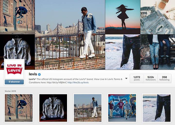 Levis, un des pionniers sur Instagram