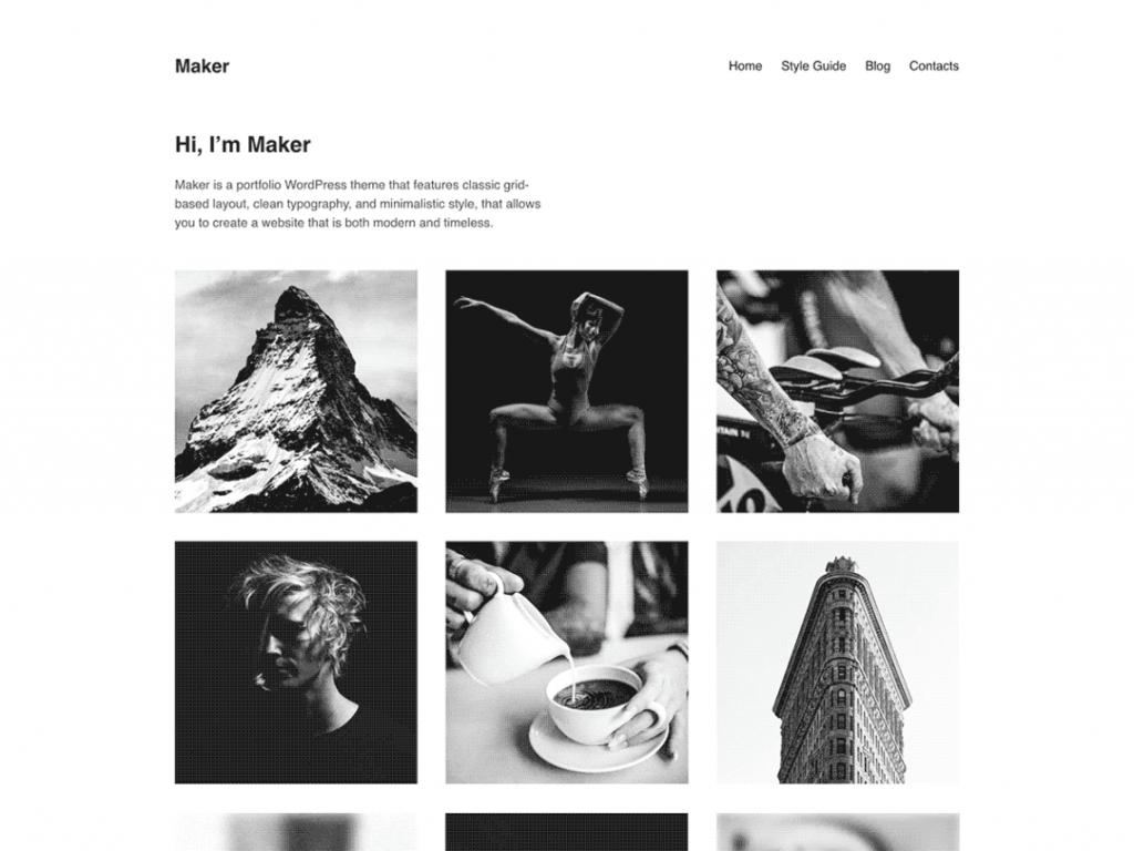 Maker 1024x768 - Une sélection de thèmes wordpress gratuits pour créer simplement vos portfolios