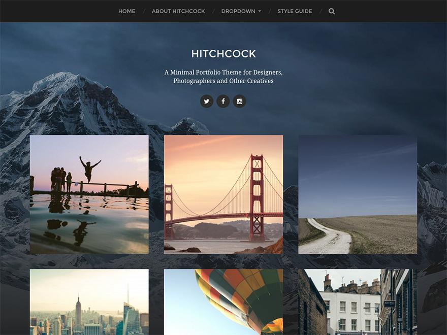 hitchcock - Une sélection de thèmes wordpress gratuits pour créer simplement vos portfolios
