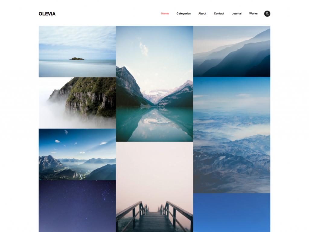 olevia 1024x768 - Une sélection de thèmes wordpress gratuits pour créer simplement vos portfolios