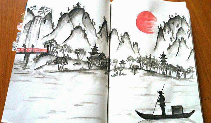 """bullet journal paysage japonais - Louise, promo 2022, créatrice de """"Bullet journal"""""""