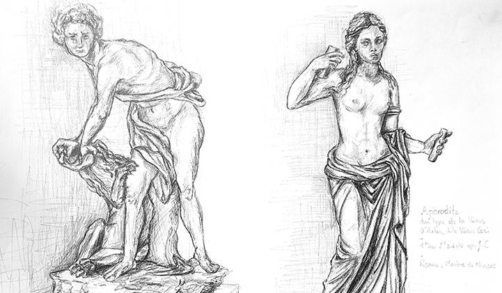 Dessin anatomie IIM Ingrid Fleurant Louvre - Capturer le mouvement et le reproduire : atelier dessin sur l'anatomie humaine au Louvre