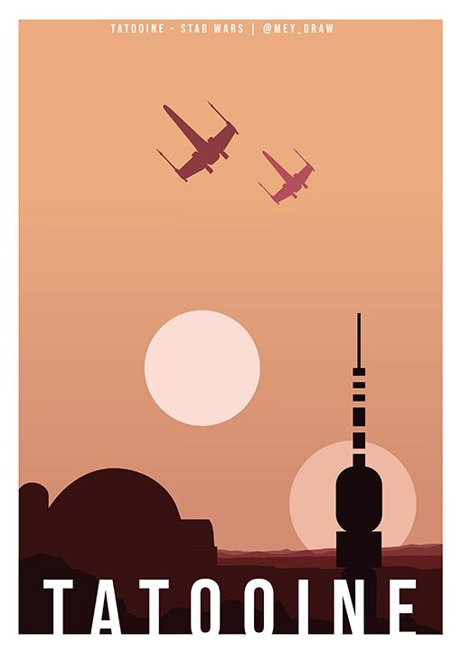 tatooine star wars flat design - Star Wars version flat design, l'univers d'Emy, promo 2022