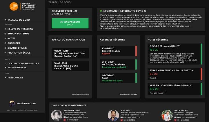 devlab iim refonte dahsboard - Projet DevLab : travailler sur une refonte fictive du portail étudiant du Pôle Léonard de Vinci