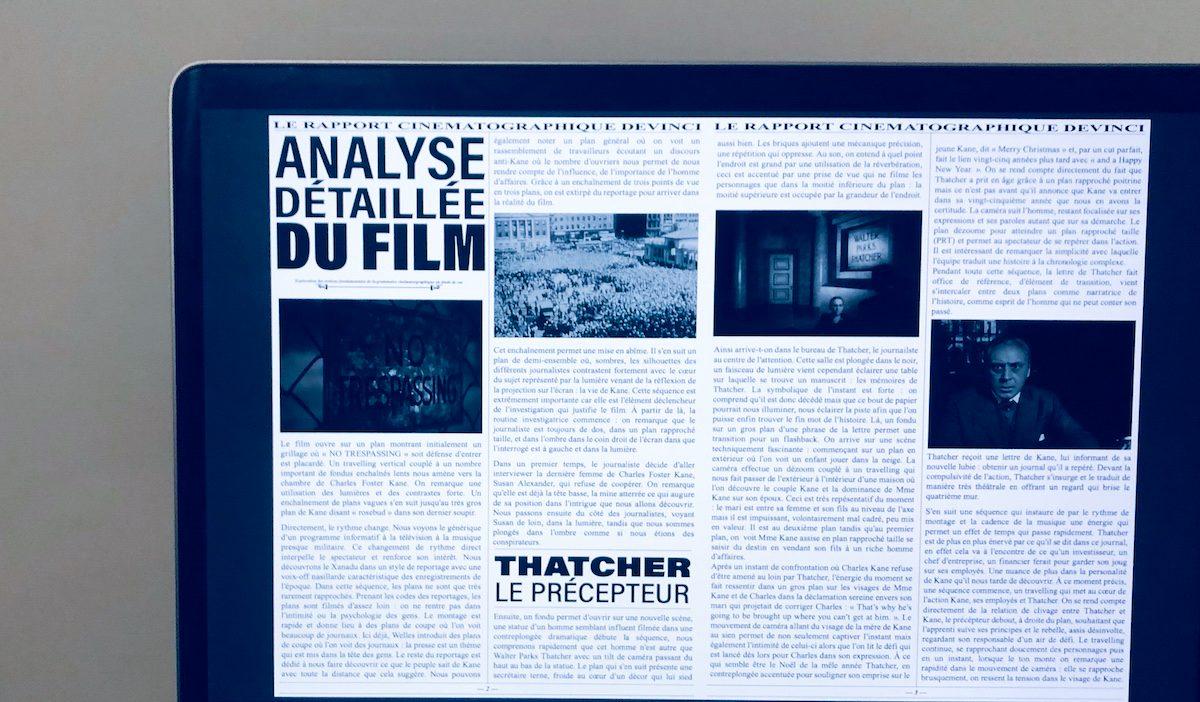 thibault guerin analyse citizen kane - Citizen Kane analysé par Thibault, étudiant de l'axe Création & Design, promo 2024